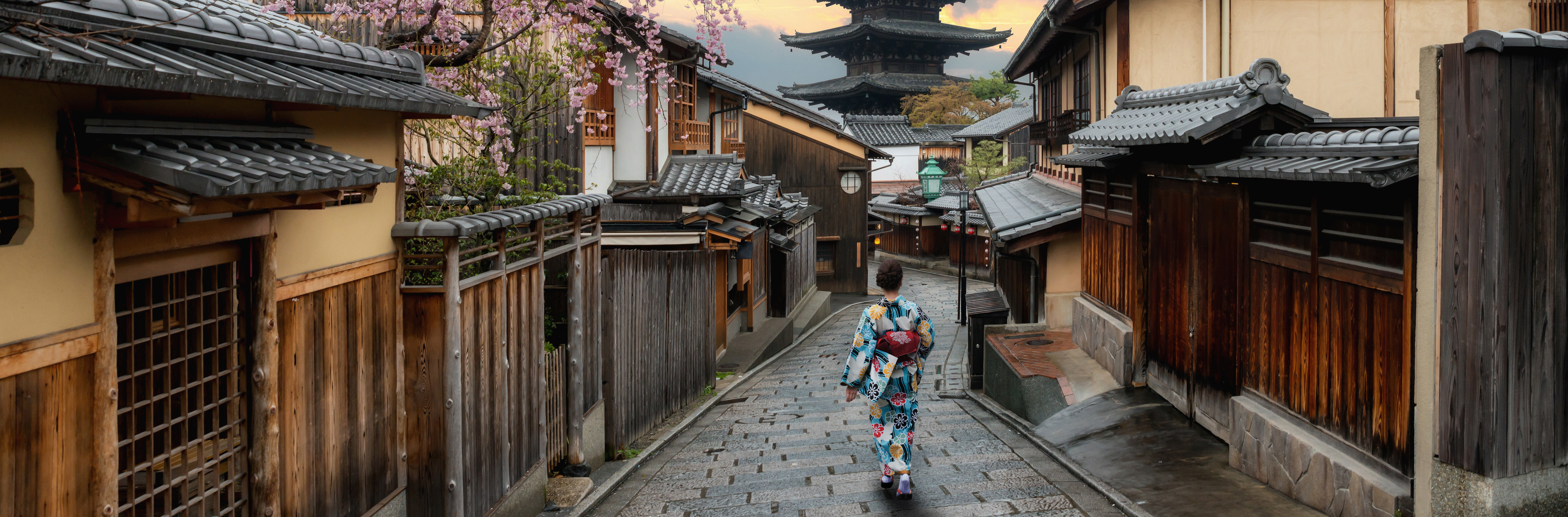 Cropped japan  kyoto   asian woman wearing traditional japanese kimono